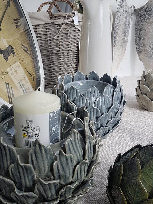 Grey Large artichoke candle holder