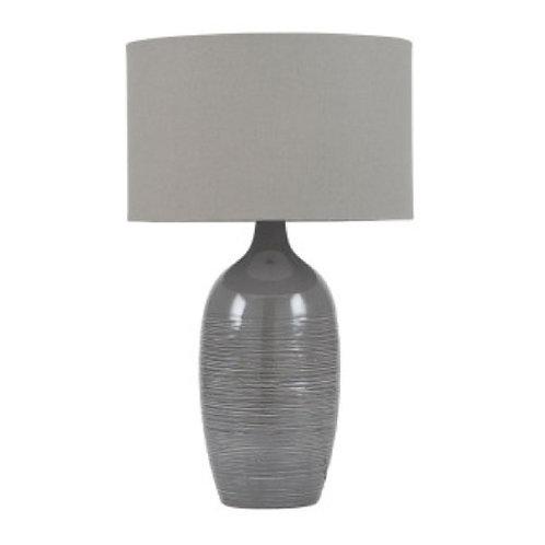 Abbie etched graphite ceramic table lamp