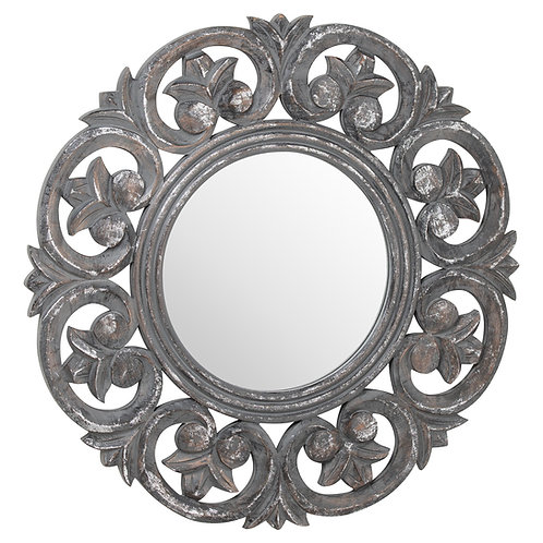 Antique mettallic circular mirror