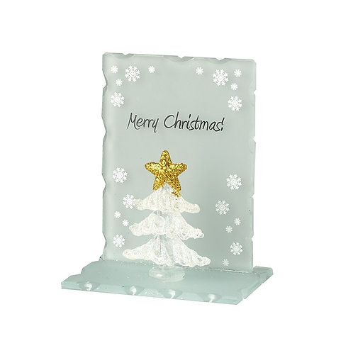Glass Tree With Gold Star On Glass Stand