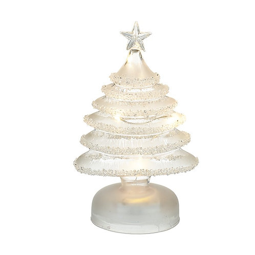 Light-Up Glass Xmas Tree