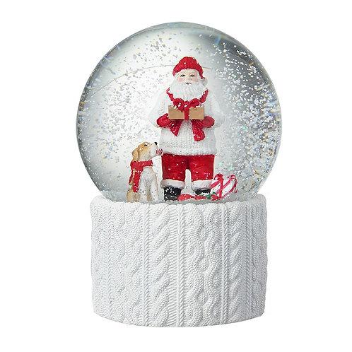 Santa & Dog Snow globe White Knitted Base
