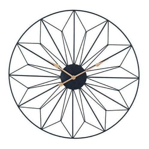 Pacific black & gold metal Geo design round wall clock