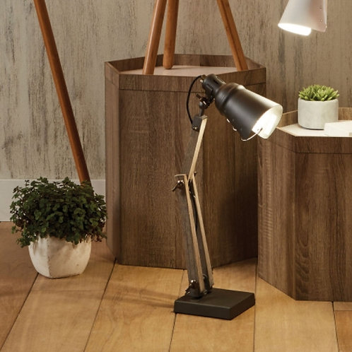 Lincoln wood & grey matal table lamp by Pacific