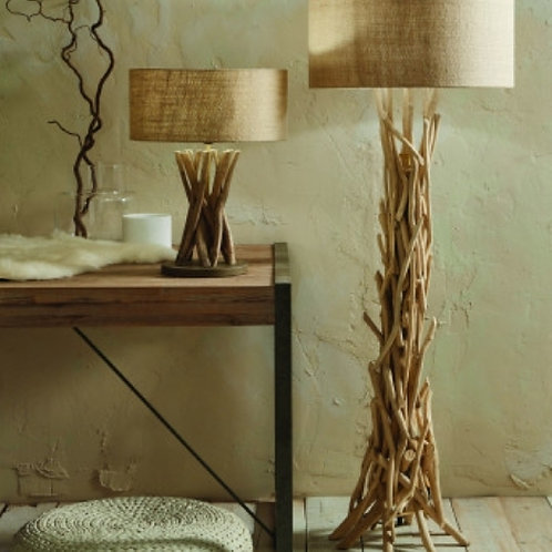 Derna driftwood floor lamp with natural jute shade by Pacific