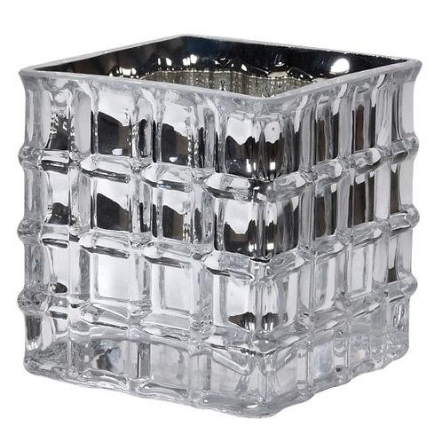 Small silver square glass vase