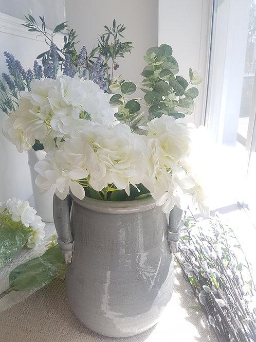 Grey vase with handles