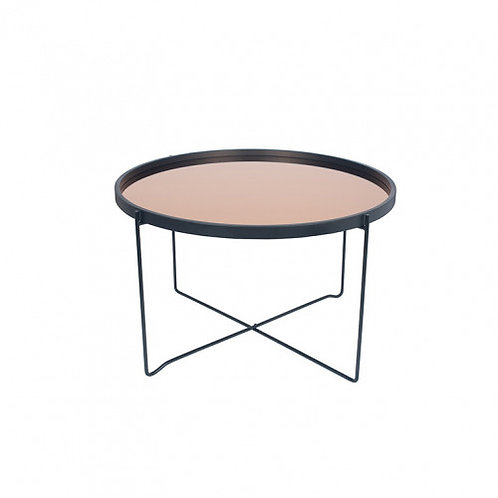 Pacific black & copper wood & iron round coffee table