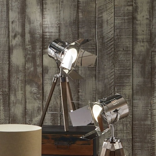 Pacific Hereford grey & metal tripod table lamp