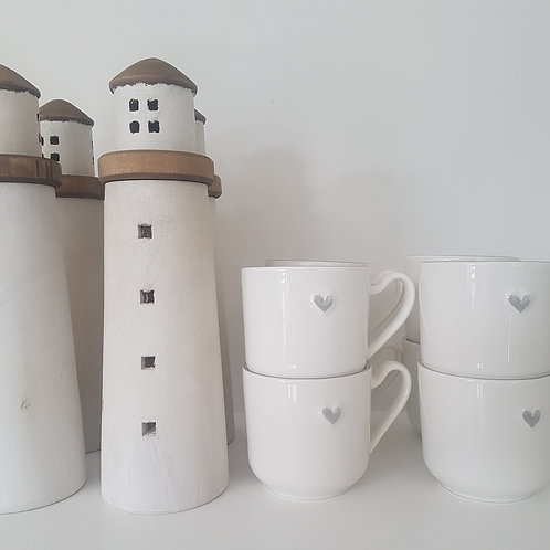 Set of 4 Grey Heart Mugs
