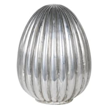 Large silver ribbed egg