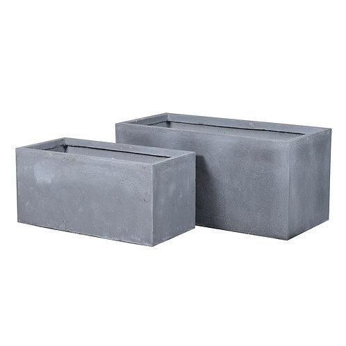 Set of 2 Oblong Grey Planters