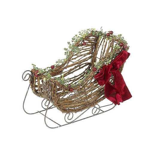 Rattan Sleigh With Red Bow