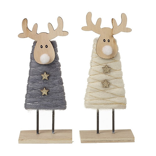 Set Wooden Standing Deer With Wool Coats