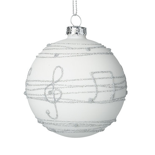 Glass Decorative Bauble With Music Notes