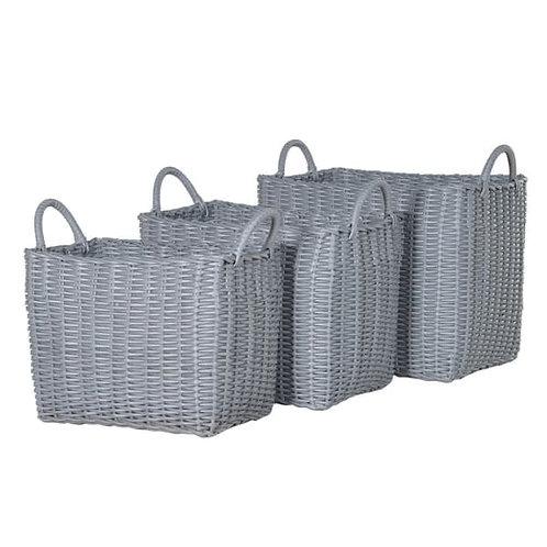 Grey woven plastic basket