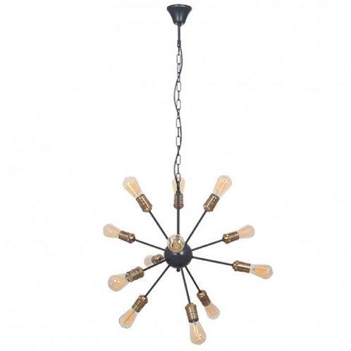 Aquila black & brass metal 12 light sputnik pendant by Pacific