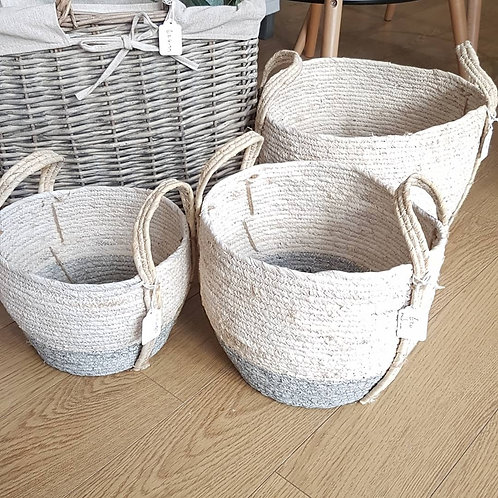White & grey Seagrass basket