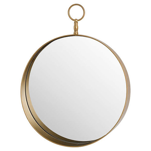 Antique Gold Circular Mirror With Decorative Loop