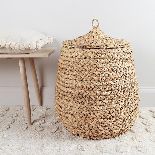 Round water hyacinth basket with lid
