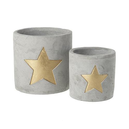 Cement Cut Out Star T Light Holder Set