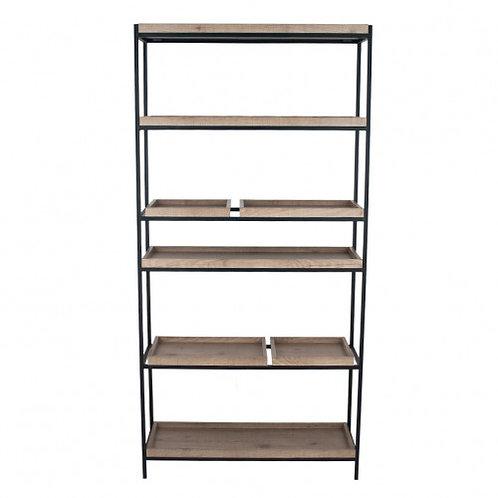 Pacific natural wood veneer black metal 5 shelf unit