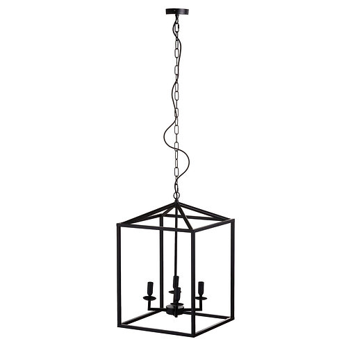 Black Large Coach Lantern Hanging Pendant Light