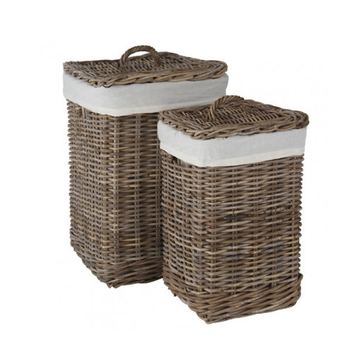 Set of 2 square lined laundry storage baskets