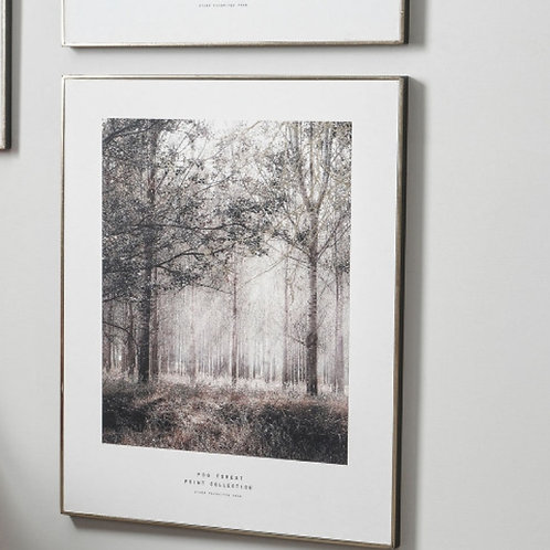 Pacific mono tree print with black & gold frame