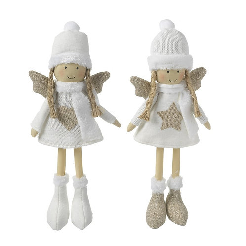Set of 2 White Fabric Angels