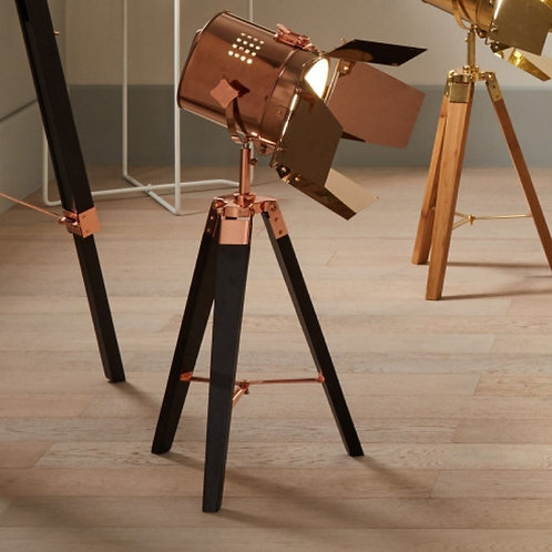 Pacific Hereford copper & black tripod table lamp