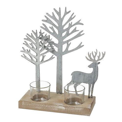 Metal & Wood Tree & Deer T-Light Holder