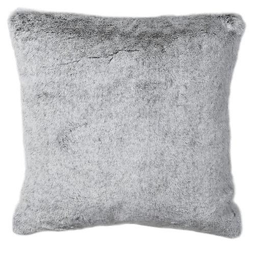 Light grey faux fur cushion