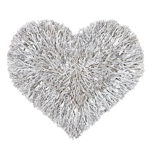 Large white rustic twig heart