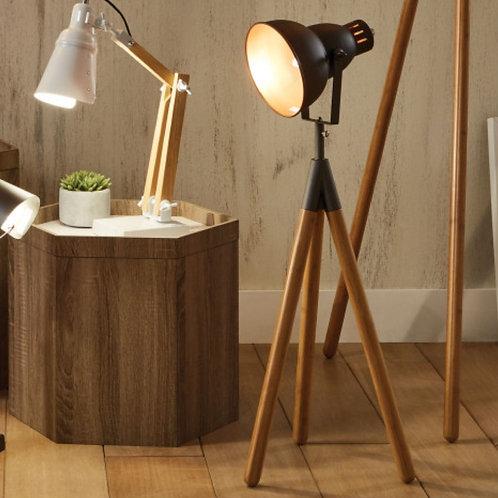 Pacific Larkin grey metal & natural wood tripod table lamp