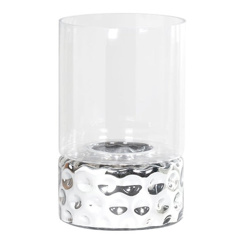 Large dimpled silver glass hurricane