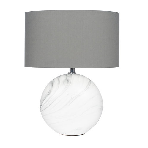 Small marble effect grey lamp