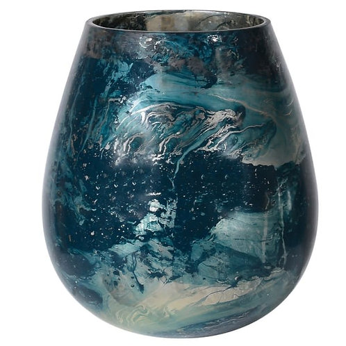 Small Blue Storm Marbling Candleholder
