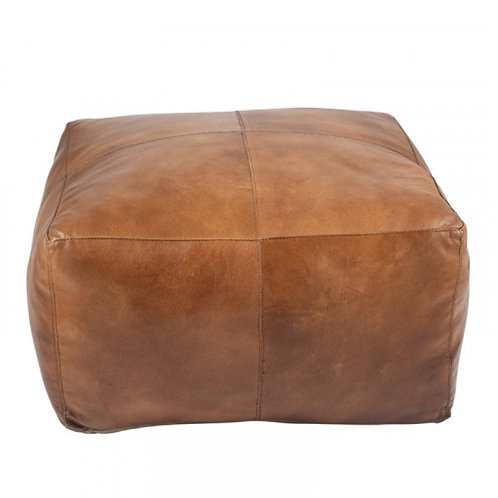Pacific natural tan leather square pouffe