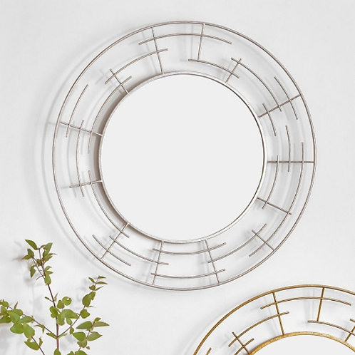 Pacific silver metal frame round wall mirror
