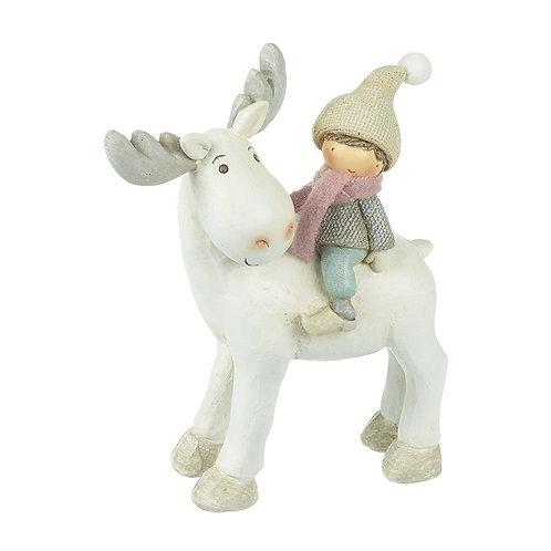 Standing Reindeer With Boy Decor