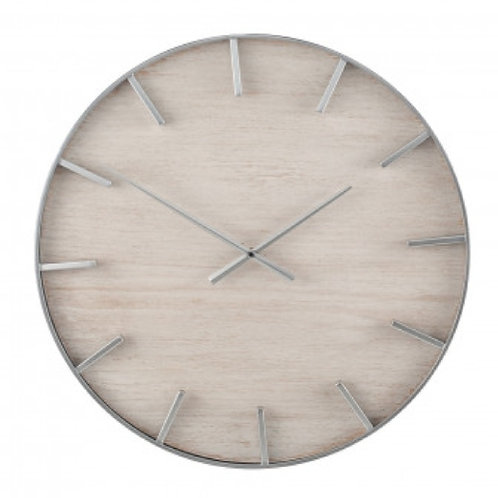 Pacific metal & white washed wooden clock