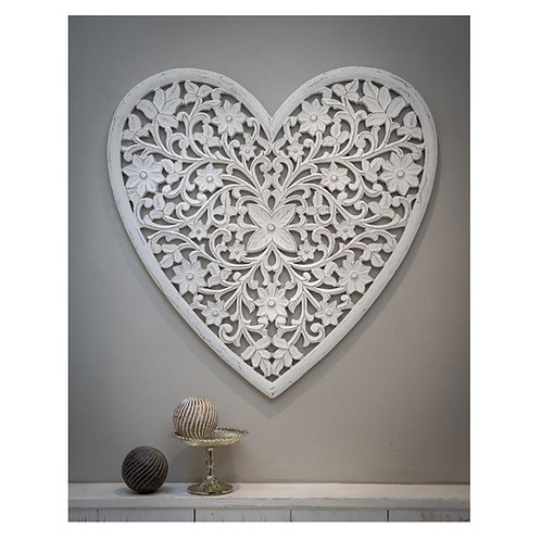 Heart white carved panel
