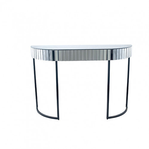 Pacific smoked grey mirrored glass metal console table