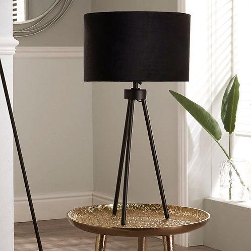 Houston black matt metal tripod table lamp