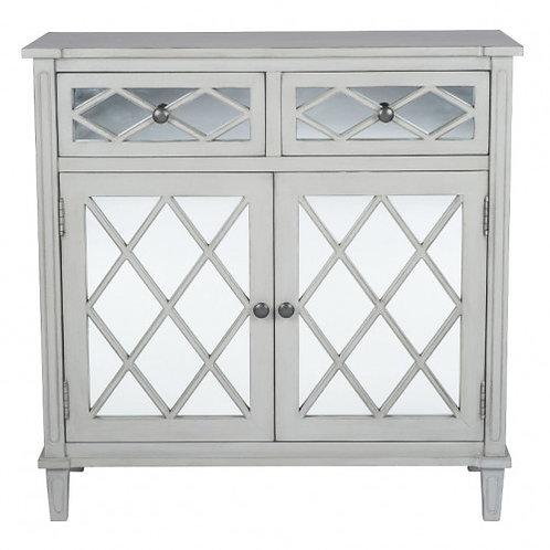 Pacific dove grey mirrored pine wood 2 drawer 2 door unit