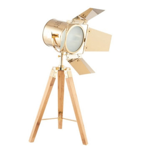 Hereford gold & natural tripod table lamp by Pacific