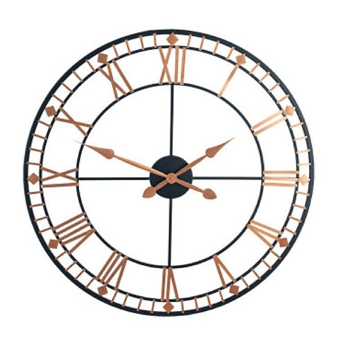 Pacific black & rose gold metal round wall clock