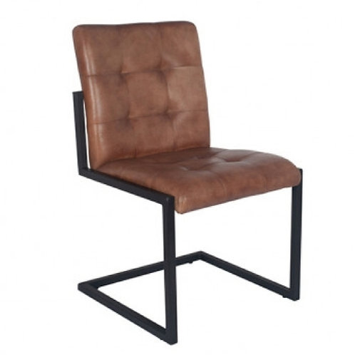 Pacific vintage brown leather & iron chair