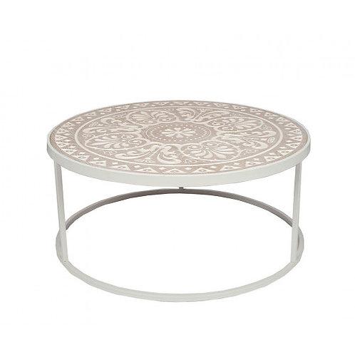 Pacific  white & cream wood & iron coffee table